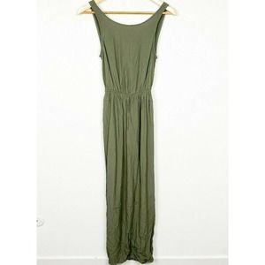 Asos Olive Green Sleeveless Round Neck Maxi Dress